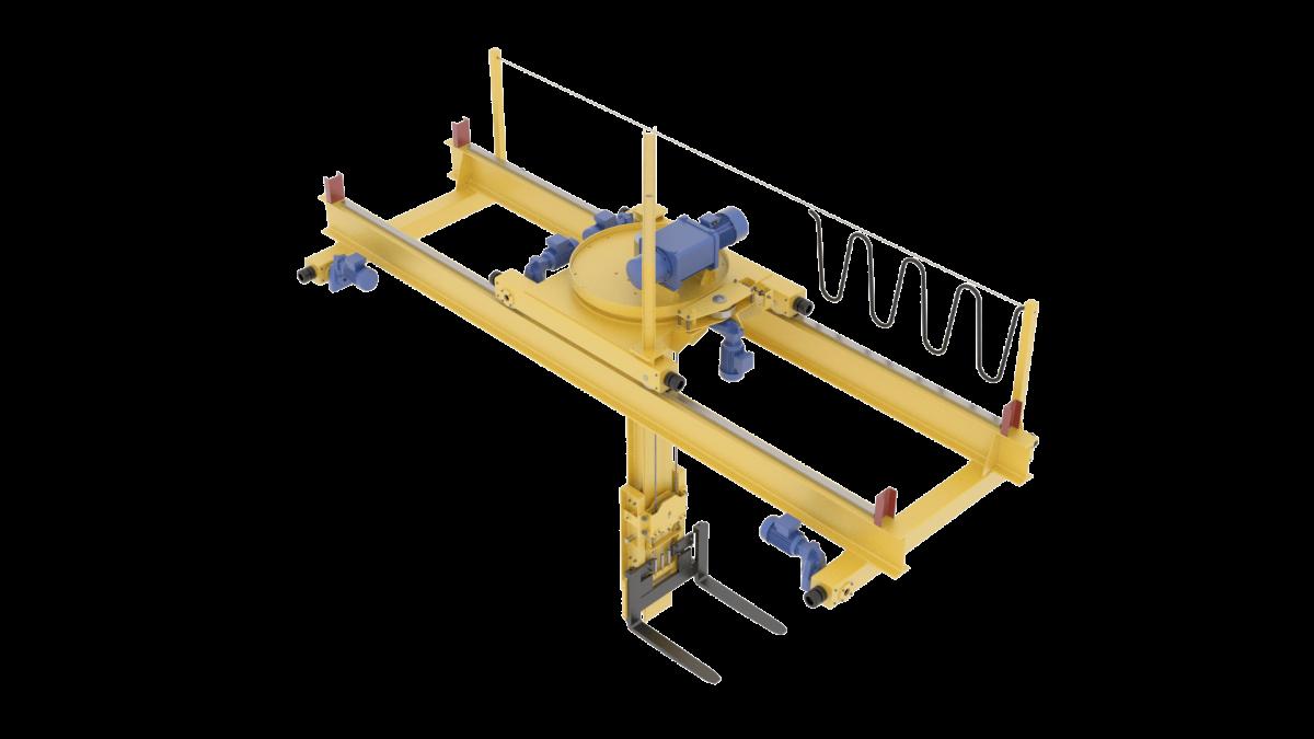 Кран-штабелёр мостовой опорный с опорной тележкой