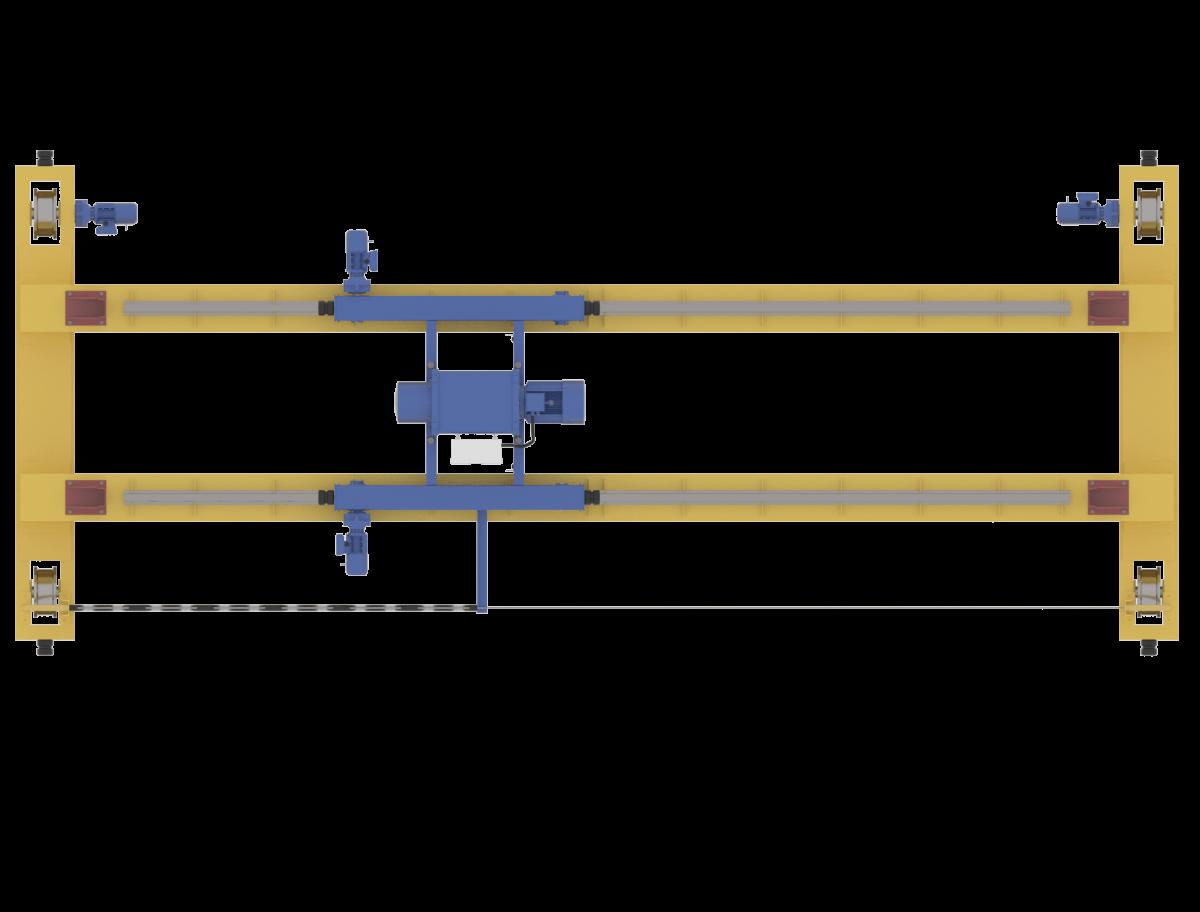 Кран мостовой электрический опорный двухбалочный с опорной тележкой (кран-балка опорная)
