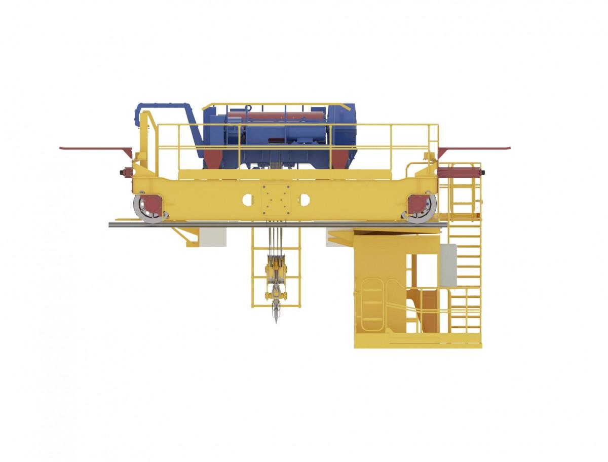 Кран мостовой электрический опорный двухбалочный с опорной тележкой с кабиной