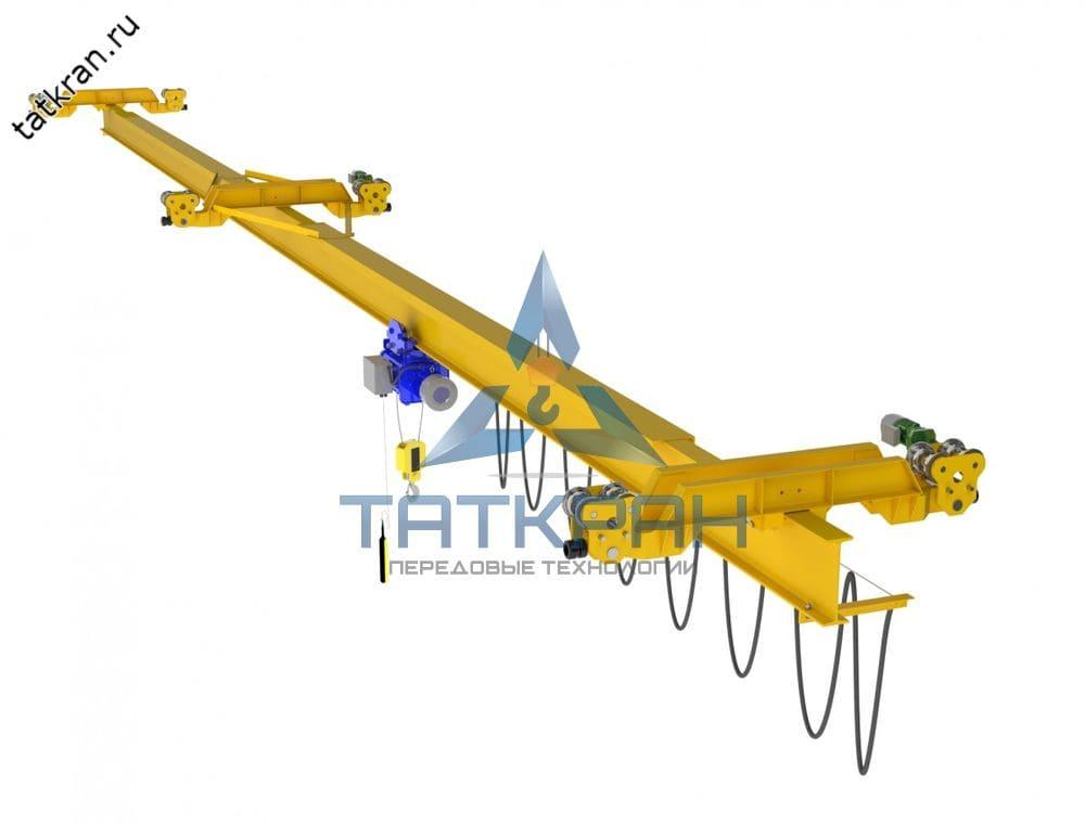 Кран мостовой электрический подвесной однобалочный двухпролетный (кран-балка подвесная многопролетная)